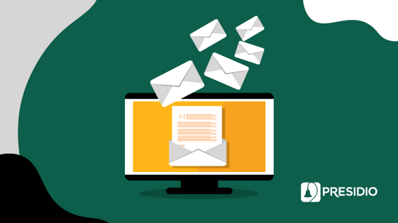 Graphic of mail coming from computer
