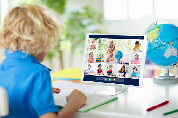 Kindergarten students on Zoom